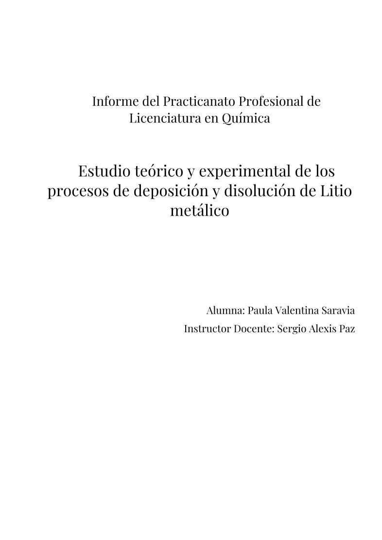 Estudio teórico y experimental de los procesos de deposición y disolución de Litio metálico
